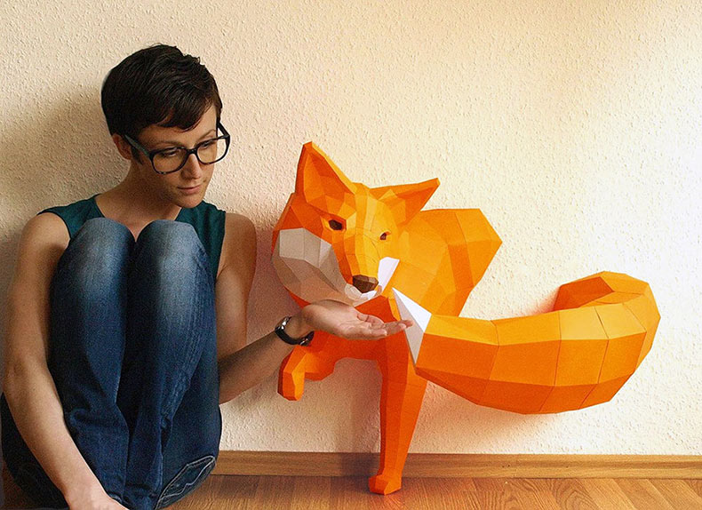 Fantasticas esculturas poligonales de animales hechas de papel de Wolfram Kampffmeyer