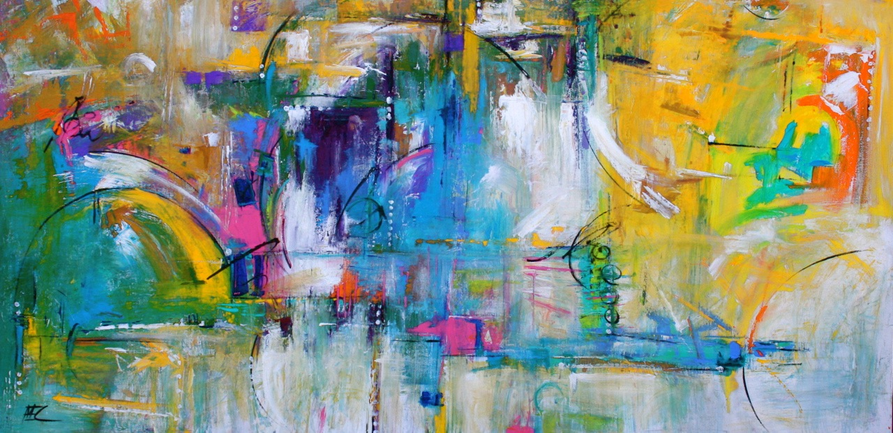 Fun Colorful And Bright Contemporary Abstract Painting By Missouri Artist Elizabeth Chapman