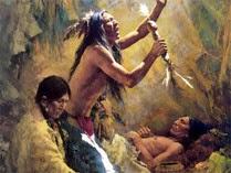 imagen de ritual de sanación de un indígena por un chamán