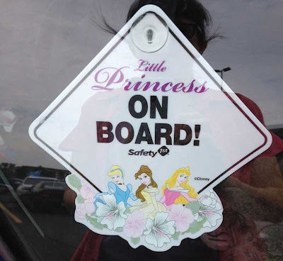 Baby on Board window accessory that says Disney Princess On Board