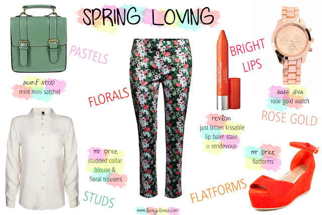 Scarf Stop, Mr Price, Revlon, Flatforms, Rose Gold Watch, Floral trousers, Studded collar blouse, Mint green