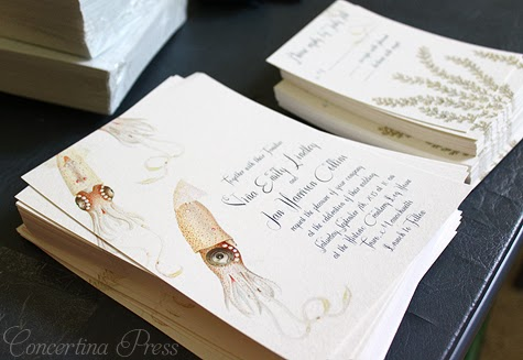 Squid Aquarium Wedding Invitation by Concertina Press