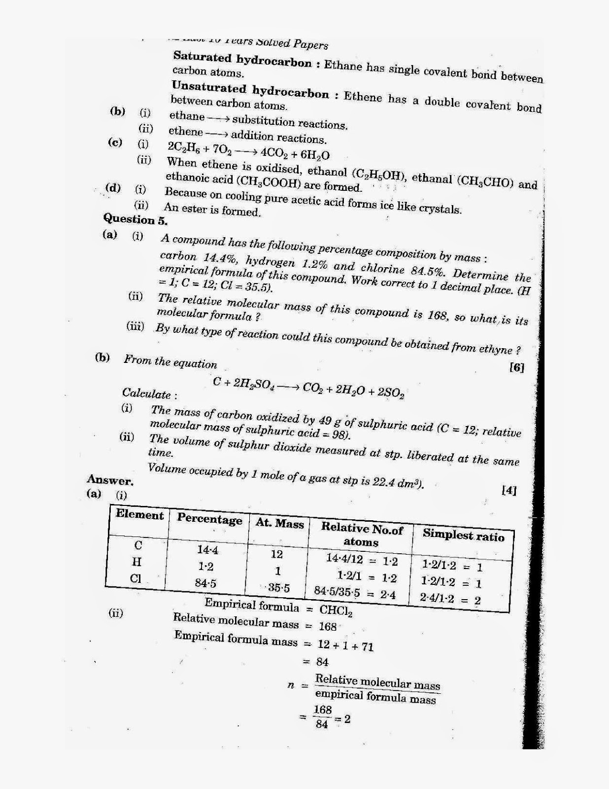 icse class 10th chemistry solved question paper 2008