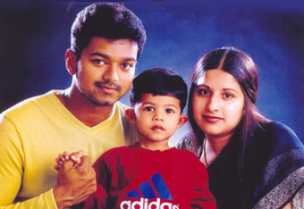 Vijay with his Wife Sangeetha & son Sanjay