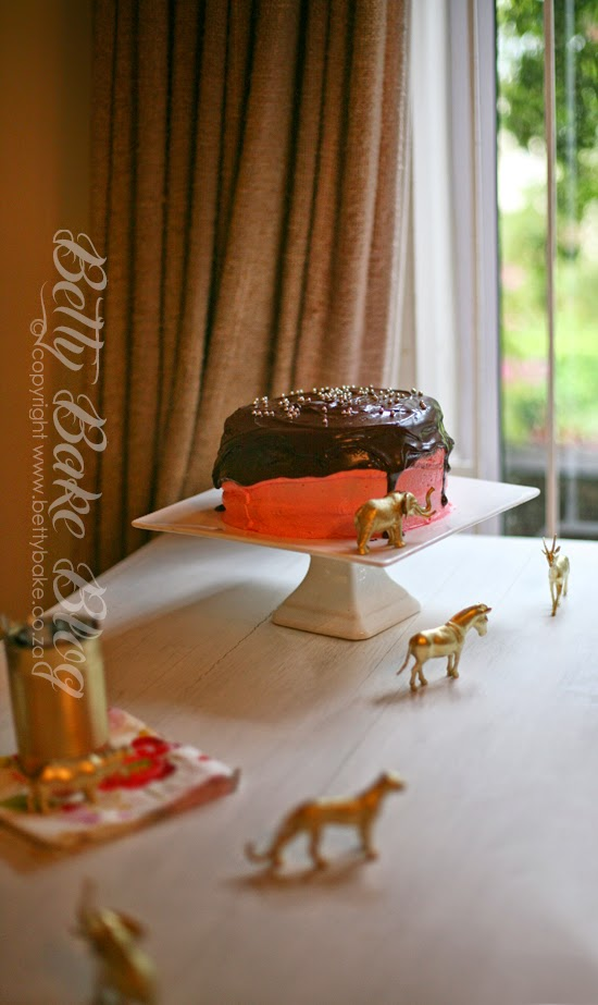 chocolate cake, pink and chocolate, pink, gold, party, birthday, girls party, gold animals, cake, love, betty bake