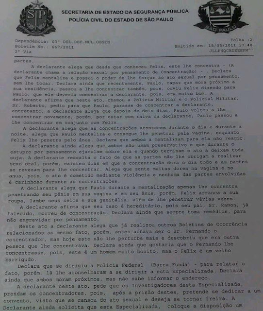 DELEGACIA DE SP REGISTRA B.O. DE ESTUPRO *POR PENSAMENTO*