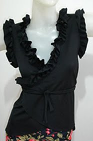 Blouse BLE003 Black with ruffles - US$30.00