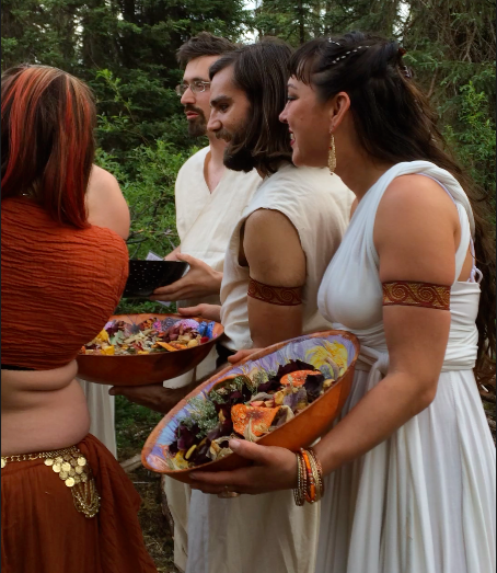 Animas Ceremony Officiants with Offering Bowls