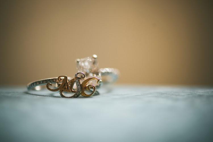monogrammed gold and diamond Valobra wedding ring