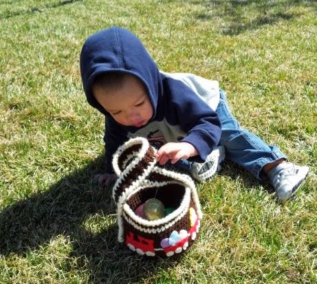 Handmade train-themed crochet Easter basket for boys