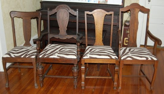 The Yard Sale Mama: My New Zebra Print Dining Room Chairs!!!!