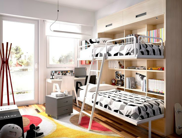 Dormitorio dos camas decorar tu casa es - Habitaciones juveniles literas ...