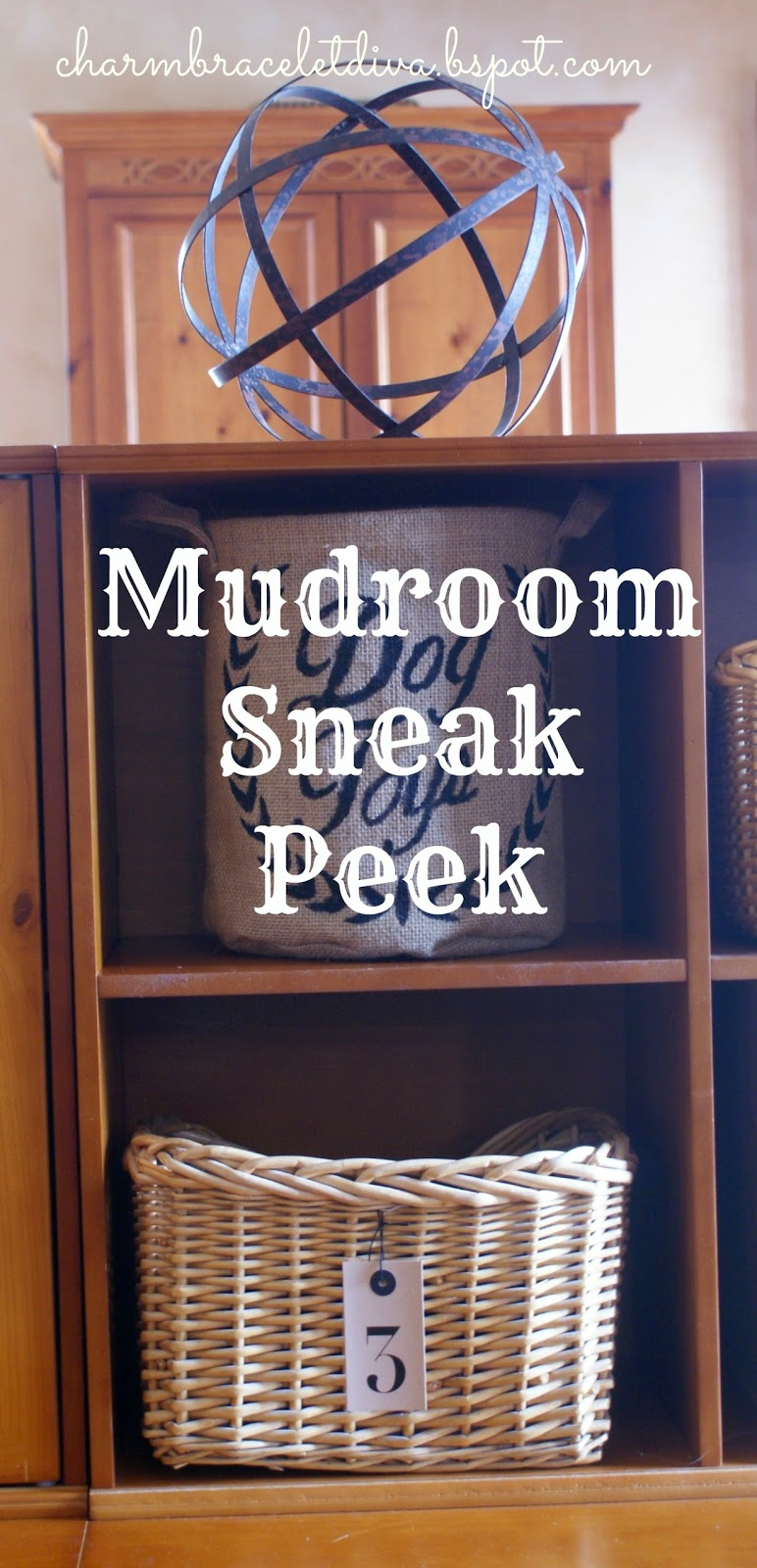 mudroom cubbies and storage bins with metal orb