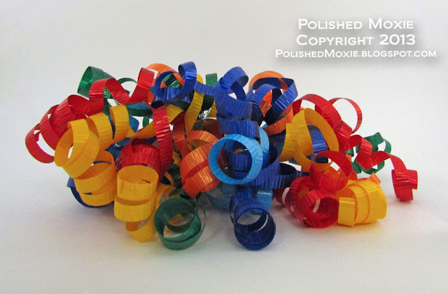 Picture of a multicolored curly cascade ribbon.