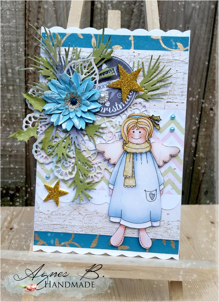 Świąteczna kartka w zieleni i turkusie…