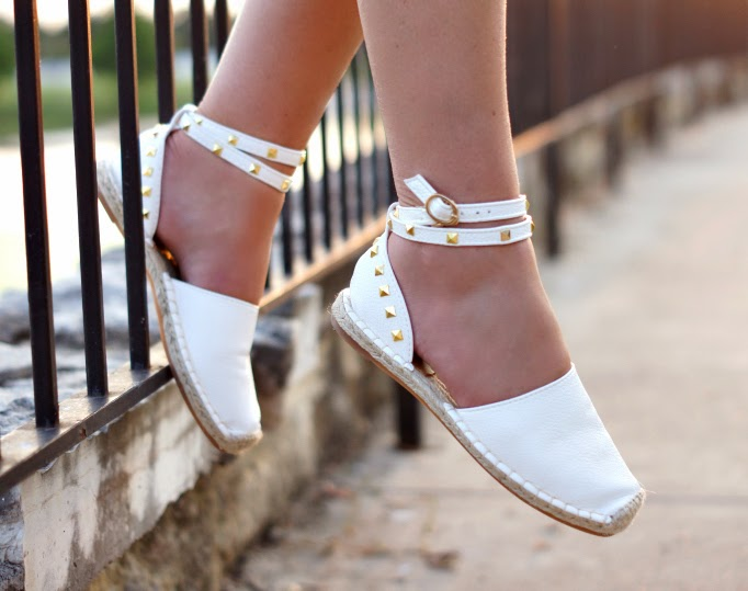 chicwish white leather stud espadrille flats