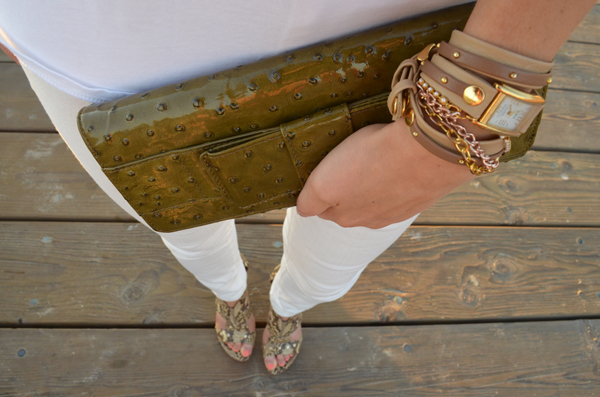 Embossed clutch + wrap watch