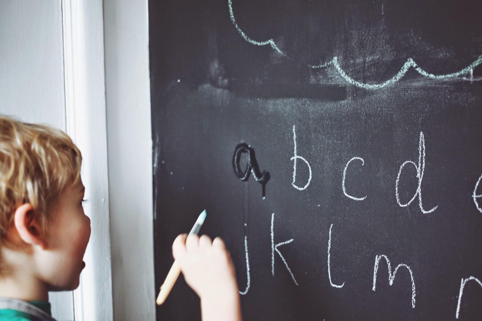 montessori at home lower case alphabet blackboard wall