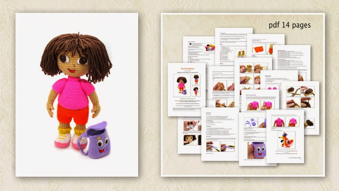 Dora the Explorer crochet toy amigurumi pattern by mashutkalu