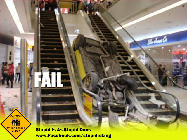 EPIC FAIL! Car Crash in Mall Car on Escalators