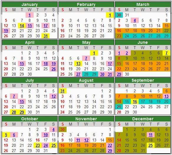 Takwim Persekolahan, Cuti Sekolah & Cuti Umum 2014