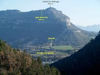 Vista de Sant Martí Xic i el Castell de Voltregà des de la intersecció dels termes de Sant Bartomeu, Gurb i Santa Cecília