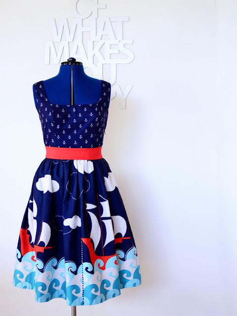maritimes kim dress (by hand london) in michael miller stoffen @frauvau.blogspot.de
