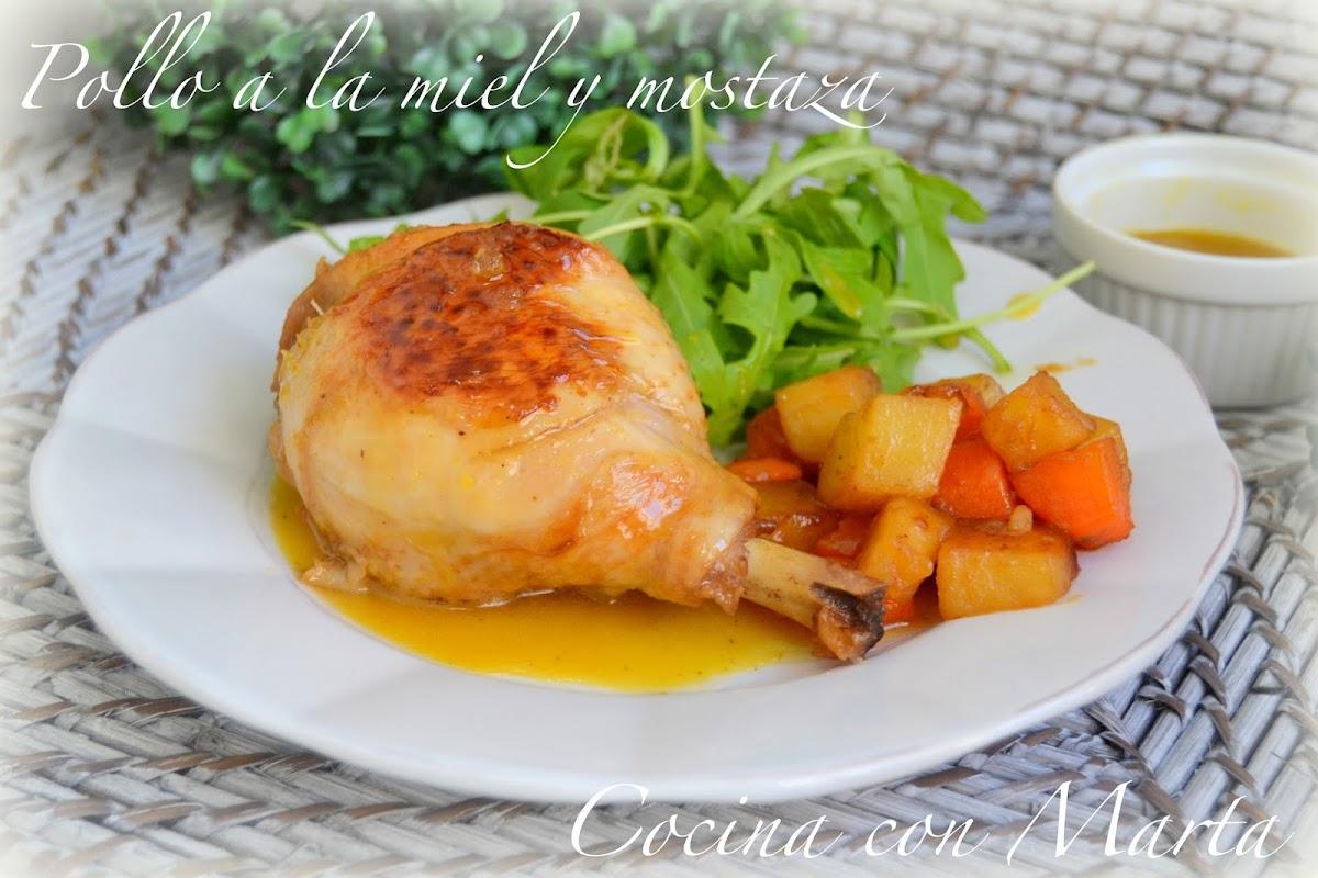 Receta casera de pollo a la miel y mostaza, con patatas y zanahorias. Fácil, rápido. Cocina con Marta.