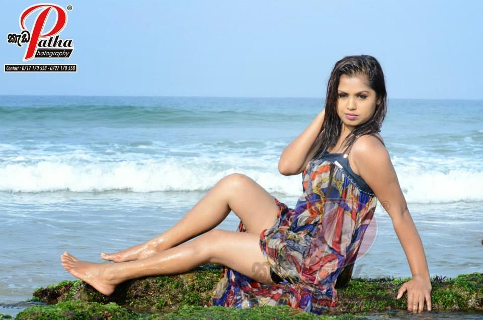 Tharu Arabewaththa beach sexy legs