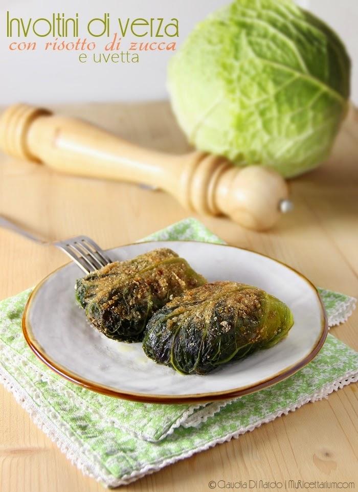 Involtini di verza con risotto di zucca e uvetta