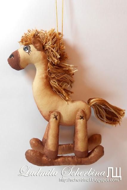мягкая игрушка лошадка-качалка, кофейные игрушки