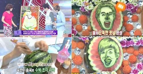 หน้า Boom กับ Leeteuk ถูกแกะสลักบนเปลือกแตงโมใน Star King