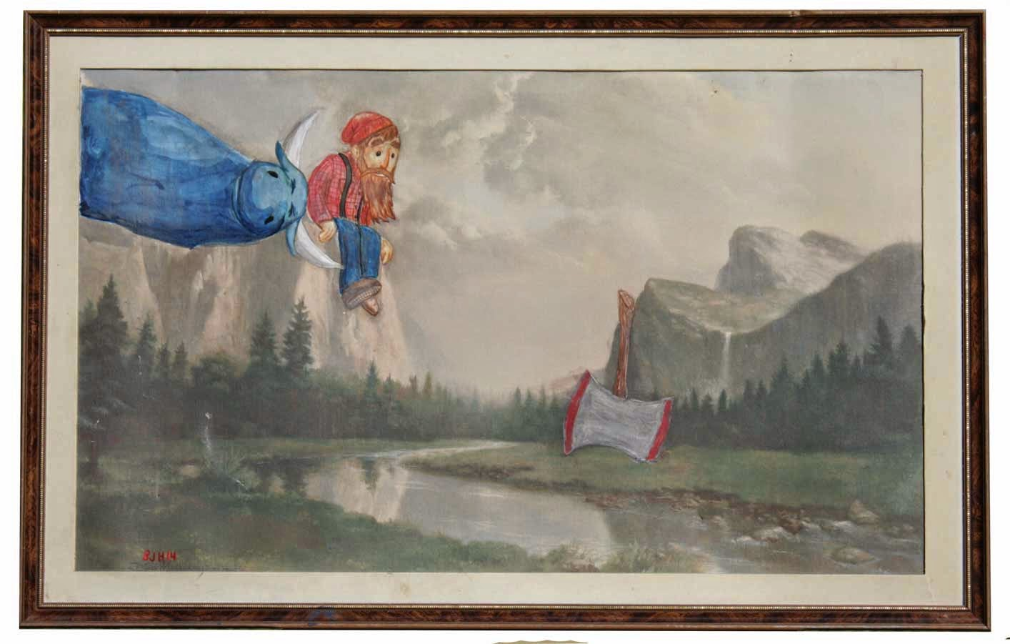 Paul Bunyan and Blue on a Thrift Store Painting by Ben J Hutchison