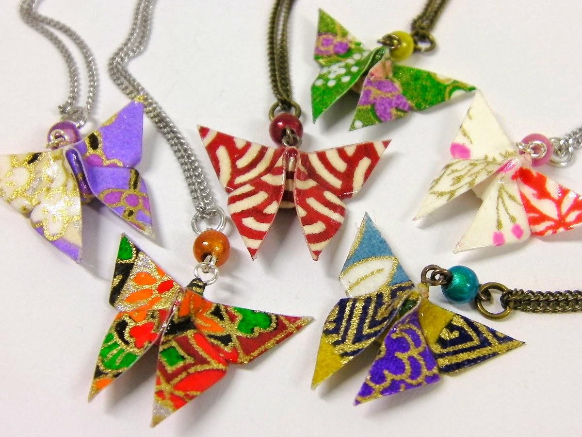 collier papillon en origami 1 kami art cr ation en. Black Bedroom Furniture Sets. Home Design Ideas