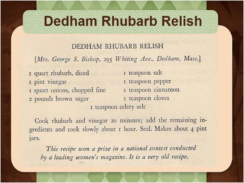 Old Fashioned Rhubarb Relish