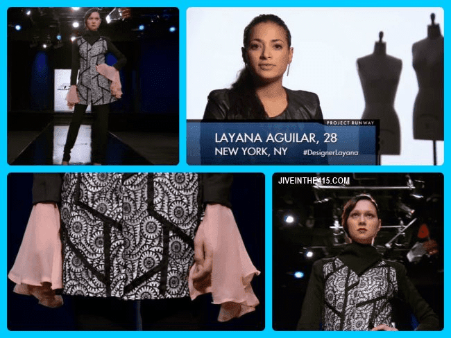 Project Runway Team's Edition Season Eleven contestant  Michelle Lesniak Franklin and her episode 12 runway look.