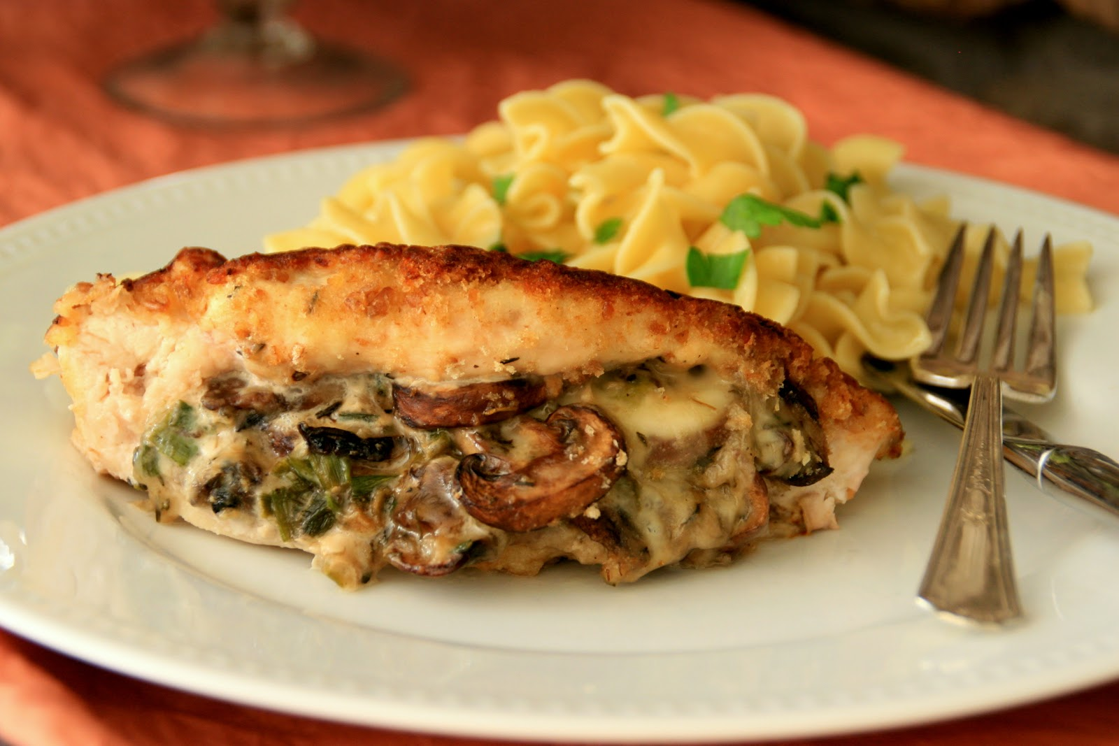 ... with Chopin, Living with Elmo: Mushroom-Stuffed Chicken Breasts
