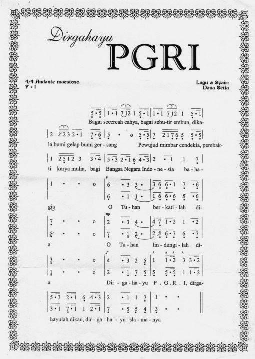 Partitur Notasi Lirik Lagu Hymne PGRI - Dirgahayu PGRI