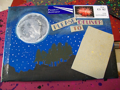 mailart, art, envelope, penpals, snail mail, painting, moon, that's the way the cookie crumbles, starry night, night sky, shoot for the moon