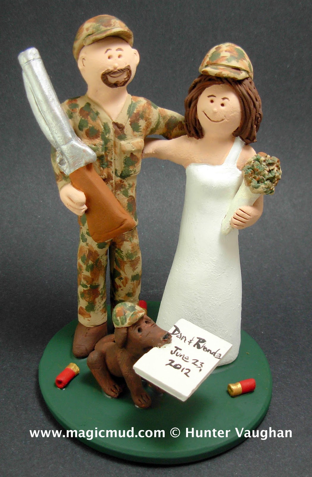 custom wedding cake toppers Bride with Camoflage Bouquet