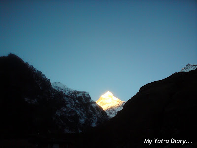 Sunrise at the Neelkanth peak in the Garhwal Himalayas