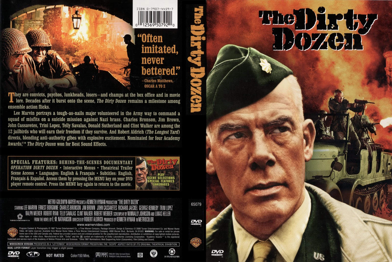 DVD cover front and back The Dirty Dozen movieloversreviews.blogspot.com
