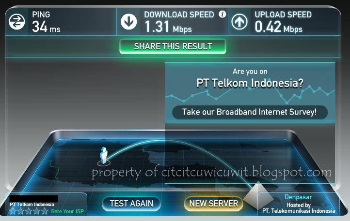 Kecepatan internet Telkom Speedy Paket Promo Multi Speed 1mbps test menggunakan speedtest.net