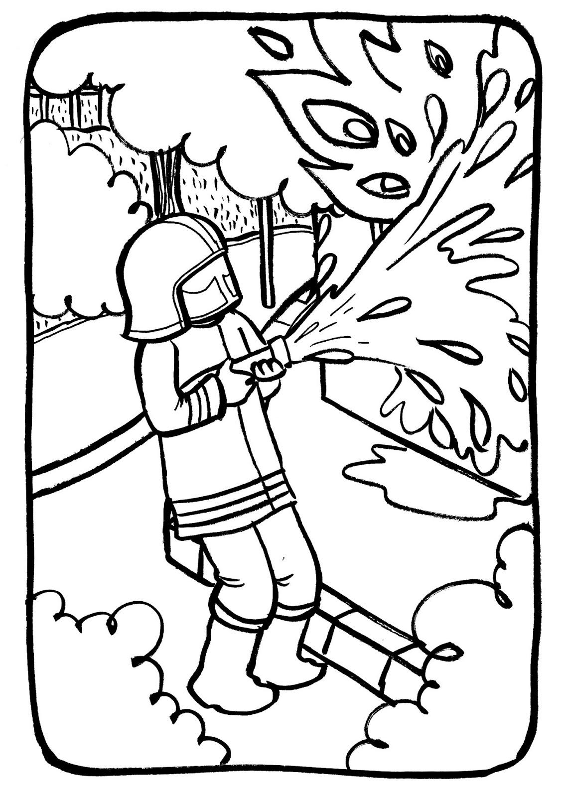 Marion de castillon coloriage du mercredi le pompier courageux - Pompier dessin ...