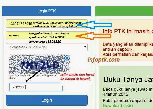 Tampilan Login Info PTK 2015