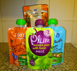 a selection of baby food packets: Plum Baby, Ella's Kitchen, Boots Baby Organic