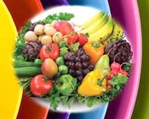 Cores do arco-íris na alimentação