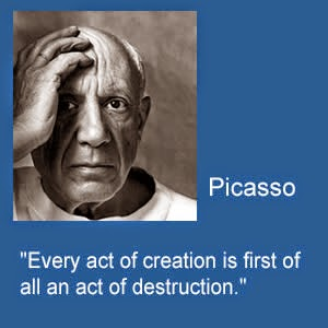 Exploring the Risk of the Creativty in Fiction Writing, Quotes Picasso and Kathryn Hepburn