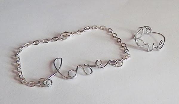 Bague et bracelet love en fil d'aluminium