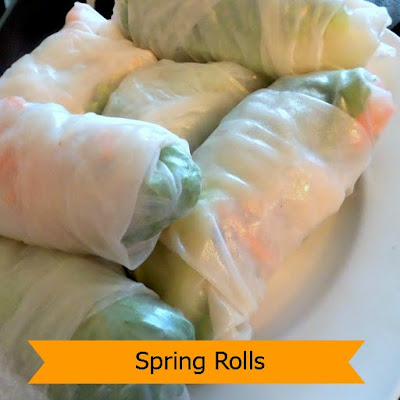 Vegetable Spring Rolls with Peanut Butter Sauce:  Noodles, lettuce, sprouts, carrots and herbs rolled tightly in rice sheets served with a peanut sauce for dipping.